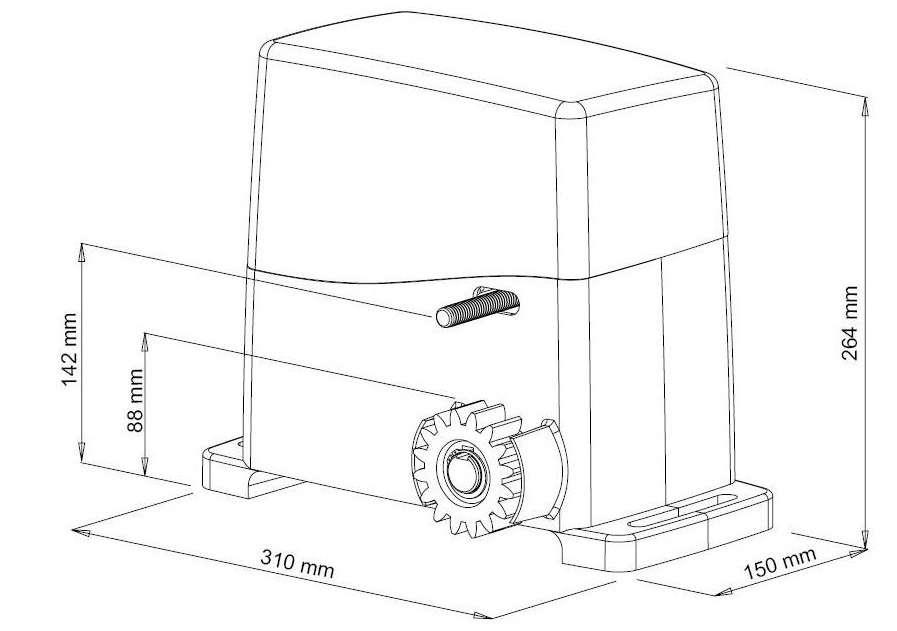 Kích thước của motor cổng trượt tự động