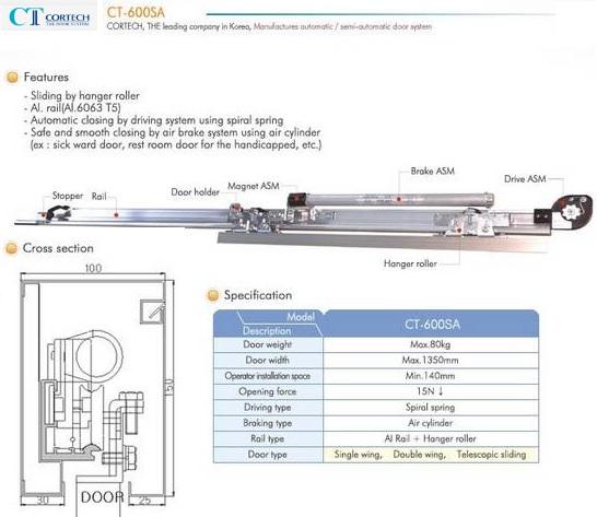 Cửa trượt bán tự động Cortech CT-600SA